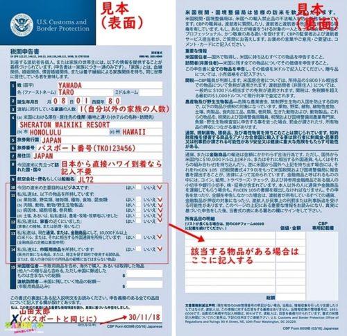 税関申告書記入例