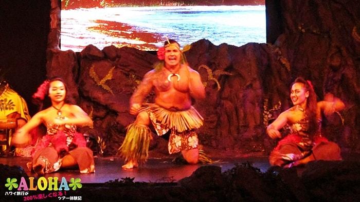 テ・モアナ・ヌイのショーの様子「叫ぶシーン」