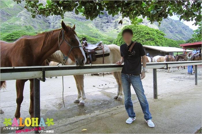 クアロアランチの馬と記念写真