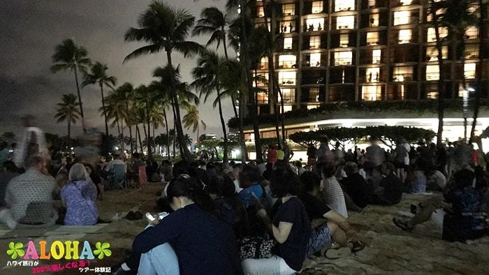 砂浜の混雑状況