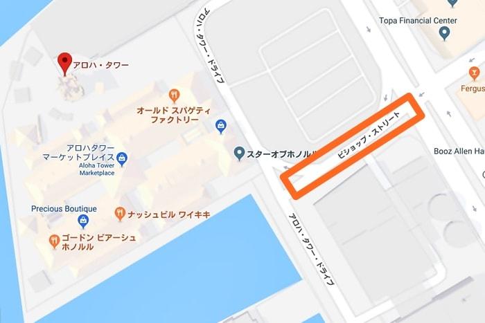 Googleマップのアロハタワー周辺地図