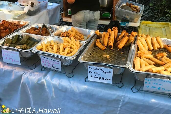 バンクオブハワイのフードブース揚げ物
